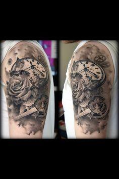 My clock and rose tattoo