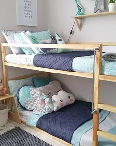 Contemporary modern scandinavian Australian kids bedroom styling for boys. Ikea timber bunk bed with adairs bedding in mint and grey. Denim navy indigo accents and kmart cloud cushion. Kate Fisher Art