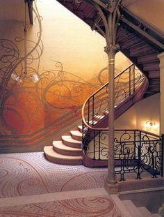Art Nouveau. Victor Horta.  Escalera casa Tassel. Stairway in Tassel House. Brussels, Belgium. 1893