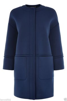 WAREHOUSE Womens Ladies Blue Neoprene Scuba Oversize by kukilatuh