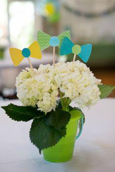 bowtie first birthday flower centerpiece using bucket and hydrangeas Little Man Birthday Party Ideas, First Birthday Parties, 1st Birthdays, Flower Centerpieces, Hydrangeas, Ecommerce Hosting, Shower Ideas, Bucket, Baby Shower
