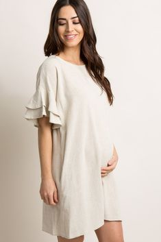 Beige Linen Flounce Sleeve Shift Dress: How to Dress when Pregnant. You can still look stylish and feel good when. Summer Maternity Fashion, Cute Maternity Outfits, Stylish Maternity, Pregnancy Outfits, Maternity Wear, Maternity Dresses, Pregnancy Dress, Simple Dress Pattern, Dress Patterns