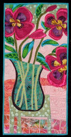 Pansy by Pamela Allen seen at Flower Power:  a Quilt Art challenge