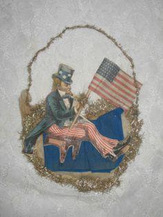 Antique Christmas Ornament Patriotic Flag Tinsel Scrap Uncle Sam   eBay