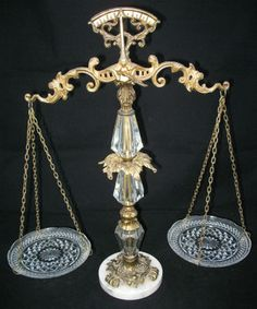 *SOLD* ANTIQUE VINTAGE L WMC 9137 Glass Crystal Weighing SCALE of JUSTICE LAW BALANCE $1 SORRY SOLD ... we sell more VINTAGE and ANTIQUE COLLECTIBLE HOME DECORATIONS at http://www.TropicalFeel.com