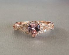 Moissanite engagement ring Rose Gold engagement ring Vintage Diamond wedding women Simple Antique bridal Flower Anniversary gift for her - Fine Jewelry Ideas Floral Engagement Ring, Halo Diamond Engagement Ring, Diamond Wedding Bands, Morganite Engagement, Heart Engagement Rings, Ring Set, Ring Verlobung, Diamond Jewelry, Silver Jewelry