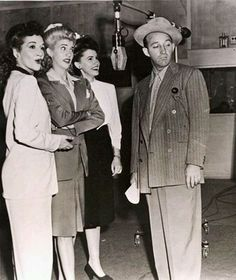 Bing Crosby and the Andrews Sisters at the Mic