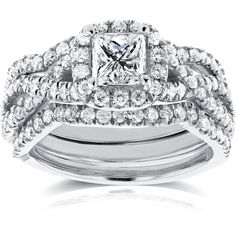 Princess Diamond Braided Bridal Set 1 2/5 CTW in 14k White Gold (158.670 RUB) ❤ liked on Polyvore featuring jewelry, rings, 14k white gold ring, 14k engagement ring, band rings, white gold diamond rings and white gold rings
