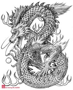 Chinese dragon drawings | Chinese Dragon by jiachengwu