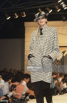 Ines de la Fressange walks the runway during the Chanel show as part of Paris Fashion Week Fall/Winter 1985-1986 in March, 1985 in Paris, France.