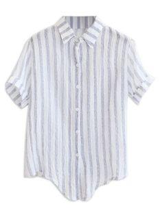 Shop Dark Blue Stripe Shirt Collar Short Sleeve Button Front Blouse from choies.com .Free shipping Worldwide.$15.29