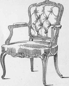 A pen and ink sketch of a Louis XV Chair.