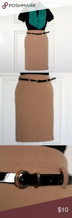 Camel Belted Bodycon Pencil Skirt Ponte knit construction. Side zip. NWT Forever 21 Skirts Mini