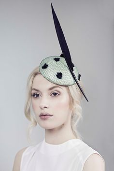 MaggieMowbrayHats - Veiled Fascinator, Formal Cocktail Hat, Feathered Races - Eva