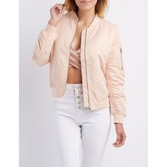 Charlotte Russe Zip-Up Bomber Jacket ($39) ❤ liked on Polyvore featuring outerwear, jackets, blush, zipper jacket, bomber style jacket, lightweight jacket, bomber jacket and flight jacket