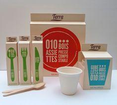 Vaisselle compostable Terra pour Monoprix by Adine Marie-Amélie, via Behance