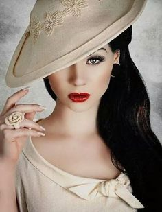 Sophisticated Lady with Hat and Red Lips ~ VoyageVisuelle ✿⊱╮. Ladies HatsGirls  In HatsFashion ... b7814f2c8ad1