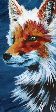 Colorful painting of a fox, Original painting, Dannys Stuff, fox painting, animal art, beautiful fox, home decor, woodland animal  This beautiful