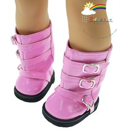 Patent Leather Buckles Boots Doll Shoes Patent Pink by Releaserain, $7.99