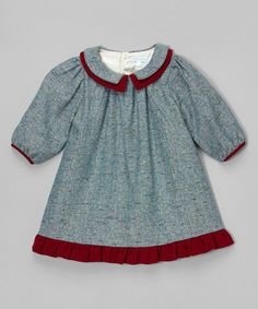 Another great find on #zulily! Gray & Red Ruffle Dress - Infant & Toddler #zulilyfinds