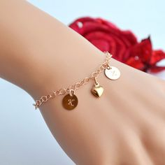 SALE 10% Initial Bracelet, Double initial Bracelet, Two Initial Bracelet, Rose Gold Heart Bracelet, Personalized Gold Bracelet, Love, Friend by malizbijoux. Explore more products on http://malizbijoux.etsy.com
