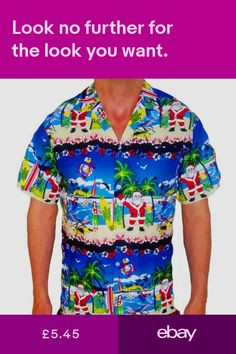 c82a13b0a Mens Christmas Shirts, Xmas Shirts, Party Tops, Hawaiian, Fancy Dress,  Button