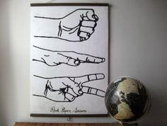 Large Canvas Vintage Style School Chart with Wood Trim - Rock, Paper, Scissors (24 x 35)