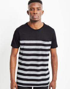 The Idle Man Jacquard Pocket T-Shirt Black and White Stripe | Shop men's t-shirt and clothing at The Idle Man