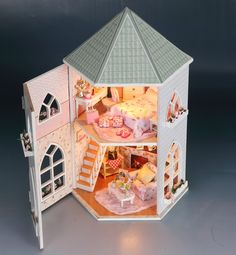 Hoomeda 13816 Kits Love Castle DIY Wood Dollhouse Miniature With Light And Furniture Toy Gift Sale - Dollhouse Kits, Wooden Dollhouse, Dollhouse Miniatures, Wooden Dolls, Vitrine Miniature, Miniature Dolls, My Doll House, Diy Holz, Wooden Puzzles