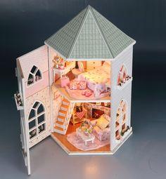 DIY doll house láska pevnost ruční montáž modelu domu Villa Holiday Valentýna dárky kreativní logická dřevo pokoj, inDoll domy od Hračky a koníčky na Aliexpress.com | Alibaba Group