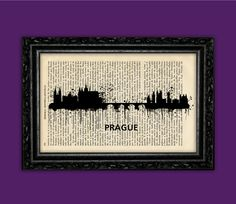 Prague Czech Republic World Cities Skylines Art Print - Building Europe Silhouettes Book Art Poster Dorm Room gift Wall Dictionary Print