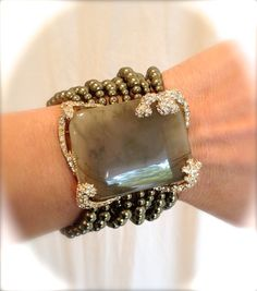 Vintage Sterling Silver Gold Pearl and Peridot Pave Estate