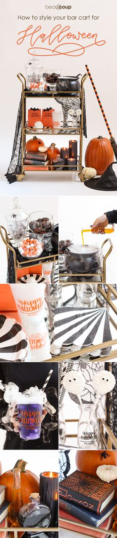 Celebrate in style this Halloween with a candy bar cart! Bar carts are everywhere, and we love them. Style your cart with candy, goodie bags, and spooky Halloween decor.