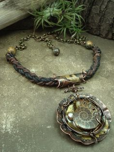 Spiral  Mixed Media Necklace por AlteredAlchemy en Etsy