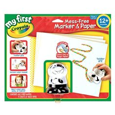 Drawing and coloring is a great way to develop your toddlers creativity but the activity can often be messy but not with the Crayola My First Mess-Free Marker and Paper Set. Its a colorful marker for toddlers...but without all the mess! The mess-free marker fits neatly in small hands and instantly reveals brilliant colors only when used with the magic paper. Includes 1 ergonomically designed mess free character marker and 15 sheets of magic paper.