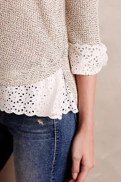 Stitch Fix Stylist: I LOVE the lace detail on the sweater! Kleidung Design, Stitch Fix Stylist, Lace Detail, Lace Trim, Eyelet Lace, Dress To Impress, Ideias Fashion, Style Me, Autumn Fashion