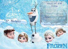 Frozen Birthday Invitation 2. Blue. Elsa. Anna. Olaf . Kristoff. Disney. Custom. Printable. Ice. Snow. Icicles. Girl. Boy. Blue. White