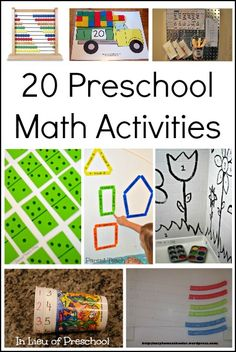 20 Preschool Math Activities. There are tons of activities from cup counting, truck pattern cards, dominos bath game, paint by number, and a number of other fun activities to teach preschoolers math.