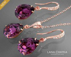 Amethyst Rose Gold Jewelry Set Purple Crystal by LanaChayka Rose Gold Wedding Jewelry, Prom Jewelry, Purple Jewelry, Rhinestone Jewelry, Bridesmaid Jewelry, Bridal Jewelry, Wedding Bridesmaids, Jewelry Gifts, Crystal Wedding