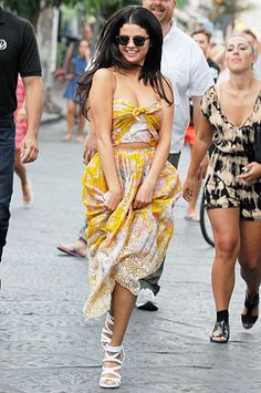 Bellissima! Selena Gomez looks breezy and beautiful in a crop top and matching skirt in Ischia, Italy