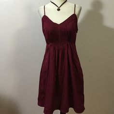 Ecote' Burgundy Dress- Med Lighttflowing polyester with side zipper, back tie & adjustable spaghetti straps that cross in back! Perfect condition! Urban Outfitters Dresses