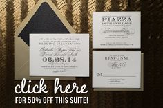 Amazing wedding invitation deal! 50% off our Invite of the Month, Gabrielle! Now through January 2015! Letterpress wedding invitation, discount wedding invitations, black and gold, glitter wedding invitation