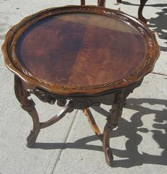 Vintage Walnut Table Round Hand Cut Carved Band Saw Mahogany Removable Glass Top