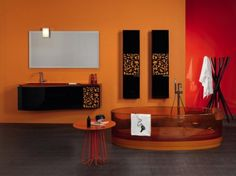 31 Astounding Orange Bathroom Design Ideas : 31 Astounding Orange Bathroom Design Ideas With Orange Wall And Glass Bathtub And Black Washbas. Best Bathroom Colors, Orange Bathroom Decor, Bathroom Color Schemes, Colorful Bathroom, Small Bathroom, Warm Bathroom, Bathroom Green, Master Bathrooms, Orange Bathrooms Designs