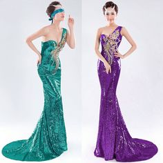 Luxury 2015 One Shoulder Sequins Ball Gown Evening Prom Party Long Dresses 2-16 #GraceKarin #BallGown #Cocktail