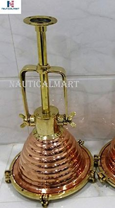 Nautical Vintage Marine Hanging Ceiling Cargo Pendant Deck Brass & Copper Light Set of 1 Pcs