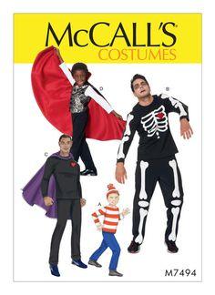 M7494 | McCall's Patterns. Men's/Boys' Skeleton, Hero, Vampire and Character Costumes