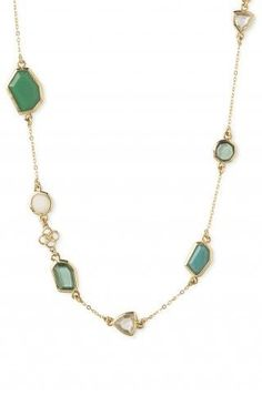 """PIPPA NECKLACE - GREEN  wear it multiple ways!  Alternating geometric polished epoxy stones adorn a delicate shiny 12k gold plated brass chain. 37"""" length plus 2"""" extender. Can be worn long or doubled. Lobster clasp closure. Lead & nickel safe. www.stelladot.com/ruthinaackies"""