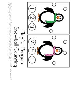 Here's a set of clothespin counting cards with a penguin theme. Count the snowballs and clip the correct number.