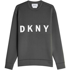 DKNY Printed Cotton Sweatshirt (855 ILS) ❤ liked on Polyvore featuring tops, hoodies, sweatshirts, green, sport top, urban sweatshirts, long tops, green sweatshirt and cotton sweatshirts